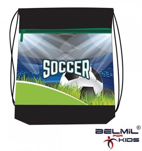 Belmil hálós és zsebes tornazsák, Soccer Championship/Focis-zöld - Belmil