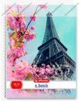 A4 Négyzethálós/Kockás spirálfüzet - Flower, Párizs/Eiffel torony