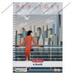 A4 Négyzethálós/Kockás spirálfüzet, Retro - New York