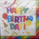 Szalvéta, Happy Birthday, 3 rétegű, 33x33 cm, 1 db