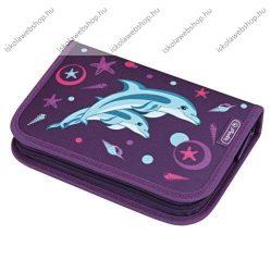 Herlitz kihajtható/klapnis tolltartó, 1 klapnis, Delfin, üres