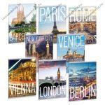 Cities-Világ városai kockás füzet, A5/40 lapos!  - Ars Una