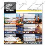 Cities-világ városai csomagolt füzetcímke (3x6 db)