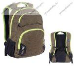 PULSE Element, zöld-szürke hátizsák, notebook tartóval és audió csatlakozóval