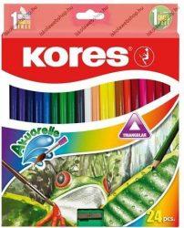 KORES Akvarell színesceruza készlet, hegyezővel/faragóval, ecsettel és faragóval, 24 szín