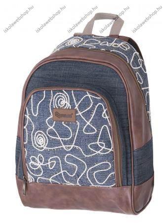 PULSE Jeans Glossy kék-brown hátizsák - Iskola Webshop 050077d135