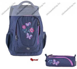 PULSE Music Jeans Flower lila hátizsák + tolltartó szett (121410)