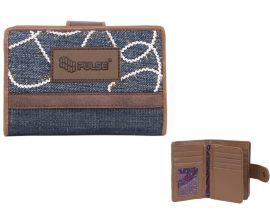 PULSE Jeans Glossy kék-barna pénztárca