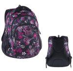 Pulse Teens Black Flower/rózsaszín-fekete iskolatáska