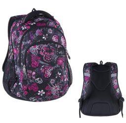 Pulse Teens Black Flower/rózsaszín-fekete hátizsák (121440)