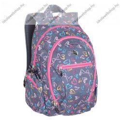 """PULSE """"Dobby Gray Hearts"""", szürke-rózsaszín hátizsák (121263)"""