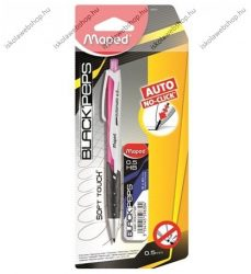 """MAPED """"Black Peps"""" Nyomósirón/Töltőceruza ajándék grafitbéllel és pótradírral, PINK (0,5 mm)"""
