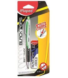 """MAPED """"Black Peps"""" Nyomósirón/Töltőceruza ajándék grafitbéllel és pótradírral, ZÖLD (0,5 mm)"""