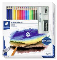 Akvarell prémium színesceruza készlet (tölthető ecsettel, radírral, hegyezővel, grafitceruzával)