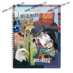 A4 Négyzethálós/Kockás spirálfüzet - Amerika, 70 lap, Herlitz