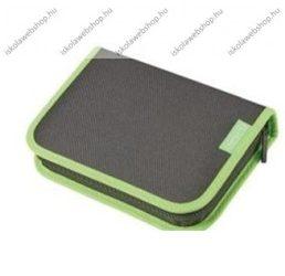 Herlitz kihajtható/klapnis tolltartó, 2 klapnis, Teens- Fekete/zöld, üres
