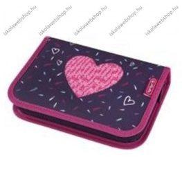 Herlitz kihajtható/klapnis tolltartó, 2 klapnis, Tropical Heart/Heart, üres