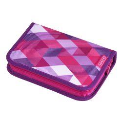 Herlitz kihajtható/klapnis tolltartó, 2 klapnis, Pink Cube, üres