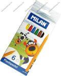 MILAN nagyméretű zsírkréta, 6 szín (12 cm/zsírkréta)