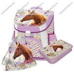 Lovas/Lovas/Morning star Pink/Wild Beauty Brown Prémium kompakt iskolatáska szett, 3 részes