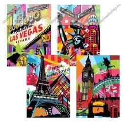 Cities/Városos/Metropolis kockás füzet (1 db, vegyes minta), 40 lap, A/5 - MAR MAR