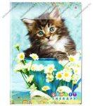 Animals Home - Cica virággal kockás füzet, A/4