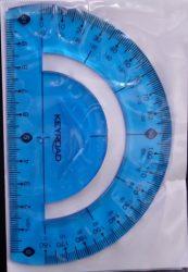 Szögmérő, flexibilis törhetetlen, 180 fokos, kék -  KEYROAD