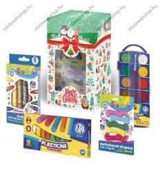 Iskolakezdő csomag karácsonyi díszdobozban/Karácsonyi kreatív ajándékcsomag gyerekeknek