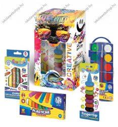 Iskolakezdő csomag díszdobozban/Kreatív díszdoboz gyerekeknek