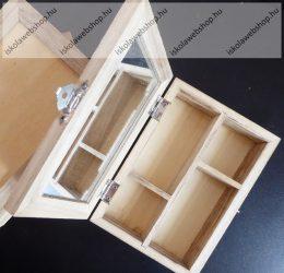 Fa ékszeres doboz, tükörrel, 14x10x3,8 cm