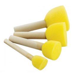Szivacsecset készlet, sárga, kör (5 db/csomag)