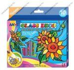 Amos üvegfóliafesték készlet, 10x10,5 ml (9 szín+1 kontúr)