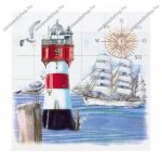 Szalvéta, Hajó világítótoronnyal, 3 rétegű, 33x33 cm, 1 db