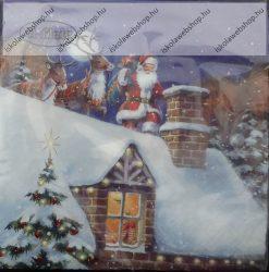 Szalvéta, Télapó a háztetőn, 3 rétegű, 33x33 cm, 1 db