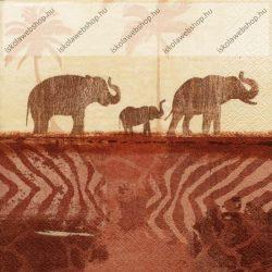 Szalvéta, Elefántok, 3 rétegű, 33x33 cm, 1 db