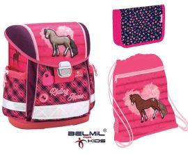 Belmil Classy Riding Horse/Lovas iskolatáska szett (virágos tolltartóval)