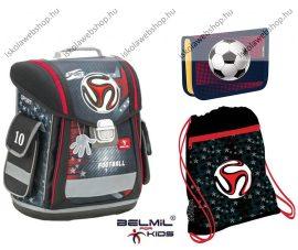 Belmil Sporty Football Sport/Focis iskolatáska szett (csíkos focis tolltartóval)