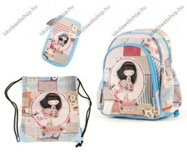 Anekke Soft Patchwork hátizsák + tolltartó + sportzsák szett, 41x18x30cm (23 liter)
