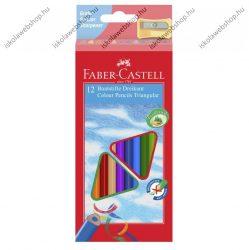 Faber-Castell ECO háromszögletű színesceruza, 12 db + 1 hegyező/faragó