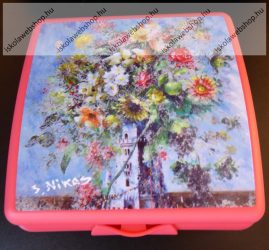 Tupperware uzsonnás doboz, Nagy, Piros virágos (14x12,5x5 cm)