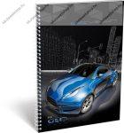 A5 Négyzethálós/Kockás spirálfüzet - Geo Technic Kék autós