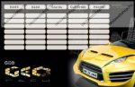 Autós kétoldalas órarend, sárga autó (18x12 cm)