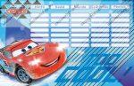 Cars/Verdák Blue kétoldalas órarend