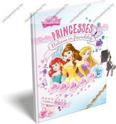 Keményfedeles emlékkönyv kulccsal és lakattal, Hercegnős/Princesses (A6)